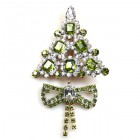 Xmas Tree with Bow Pin ~ Clear Olive Green