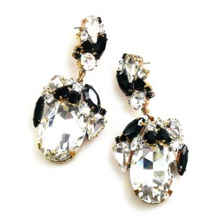 Fiore Pierced Earrings ~ Clear Crystal Black