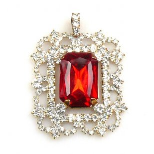 Octagonal Pendant ~ Crystal with Red
