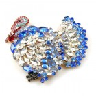 Turkey Brooch ~ Blue with Clear Crystal ~ Extra Big