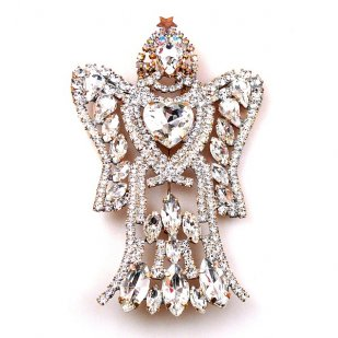 Angels with Heart ~ Clear Crystal Brooch