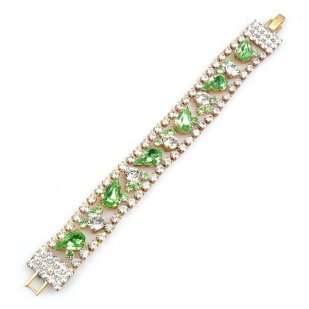 Calypso Bracelet ~ Clear Crystal with Green