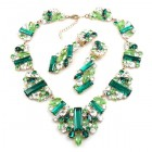 Ffion Necklace Set ~ Emerald and Clear Crystal