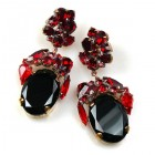 Fiore Pierced Earrings ~ Black with Ruby Red