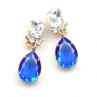 Effervescence Earrings with Clips ~ Blue Clear Crystal