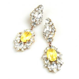 Crystal Gate Pierced Earrings ~ Opaque Yellow