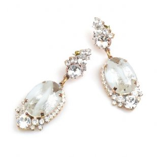 Ovals Earrings for Pierced Ears ~ Crystal Silver White