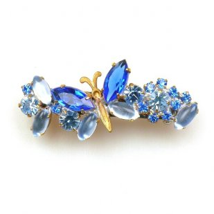 Barrette Clip with Butterfly ~ Blue Sapphire