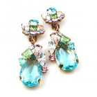 Fountain Clips-on Earrings ~ Pastel Tones with Aqua