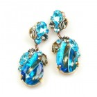 Fountain Multicolor Earrings Pierced ~ Silver Extra Aqua