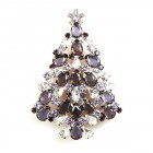 Xmas Tree Brooch #16 ~ Purple Violet Clear