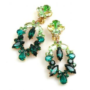 Xena Earrings Clips ~ Emerald Green