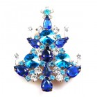 Rivoli Xmas Tree Brooch ~ Aqua Blue Clear