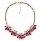 Breeze Necklace ~ Clear Crystal with Fuchsia