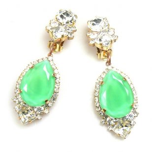 Tears Clips-on Earrings ~ Crystal with Opaque Mint Green
