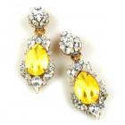Grand Mythique Clips-on Earrings ~ Crystal Silver Yellow