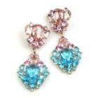 Aztec Sun Earrings Pierced ~ Aqua with Pink