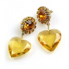 Hearts ~ Topaz Dangling Valentine Earrings for Pierced Ears