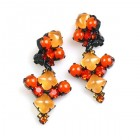 Bubbles Earrings Clips ~ Neon Orange ~ Black Plated