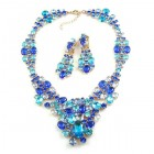 Dione Necklace Set with Earings ~ Blue Aqua