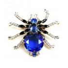 Little Spider Pin ~ Blue and Clear Crystal