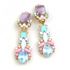 Miracle Clips-on Earrings ~ Opaque Pastel Aqua Violet