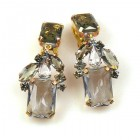 Emilee Earrings Clips ~ Smoke Crystal