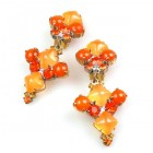 Bubbles Earrings with Clips ~ Neon Orange