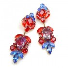 Iris Grande Pierced Earrings ~ Blue Ruby Red