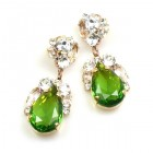 Fountain Earrings for Pierced Ears ~ Clear with Olive Green