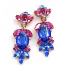 Iris Grande Clips Earrings ~ Blue Fuchsia