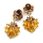 Aztec Sun Earrings Clips ~ Amber and Dark Topaz