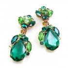 Fountain Clips-on Earrings ~ Green Tones with Emerald