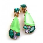 Dancing Twinkle Earrings Clips ~ Green Emerald