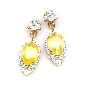 Ovals Clips-on Earrings ~ Crystal Silver Yellow