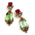 Pearlesque Earrings Clips ~ Green Multicolor