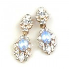 Crystal Gate Clips-on Earrings ~ Opaque Azure