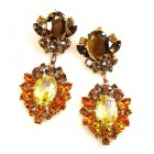 Aztec Sun Earrings Pierced ~ Topaz Tones with Silver Yellow