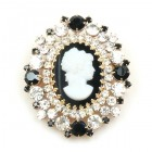 Cameo Brooch ~ Clear Crystal and Black