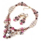 Dione Necklace Set with Earings ~ Purple Fuchsia Clear Crystal