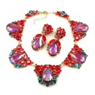 Iris Necklace Set ~ Silver Fuchsia Red and Violet