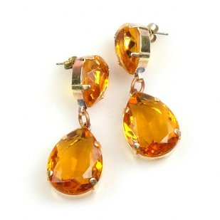 Raindrops Earrings Pierced ~ Topaz