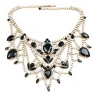 Bon Repos Jewelry Necklace ~ Black with Crystal