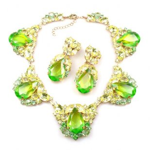 Iris Necklace Set ~ Melon Green Yellow