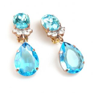 Effervescence Earrings with Clips ~ Aqua
