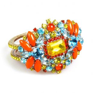 Florence Clamper Bracelet ~ Orange Multicolor