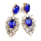 Ella Earrings Pierced ~ Baguettes and Ovals ~ Blue