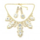Laura Necklace Set Clear Crystal ~ Gold Plated