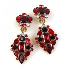 Fatal Passion Earrings Clips-on ~ Ruby Red with Black