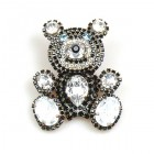 Teddy Bear Pin ~ Clear Crystal and Black